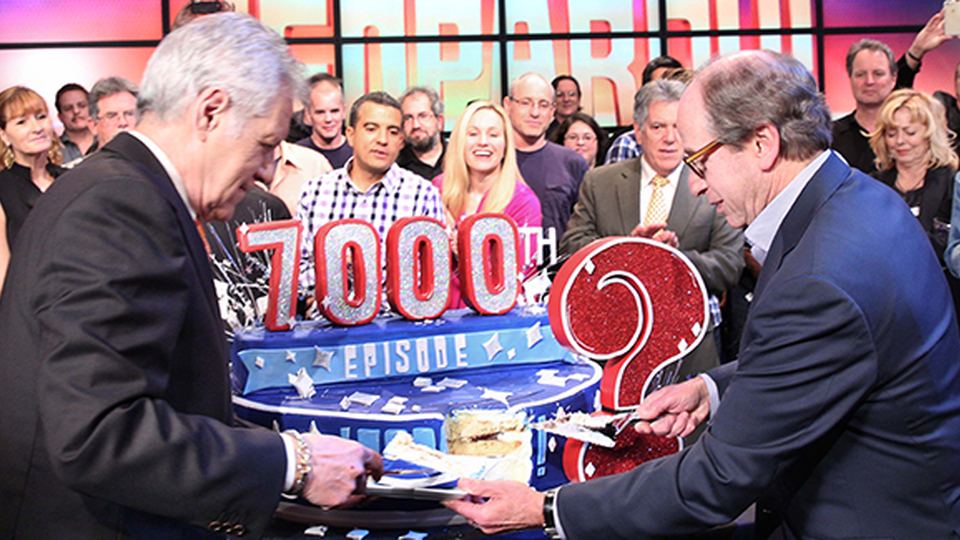 Harry, Alex and the crew celebrating the 7000th Episode of Jeopardy!