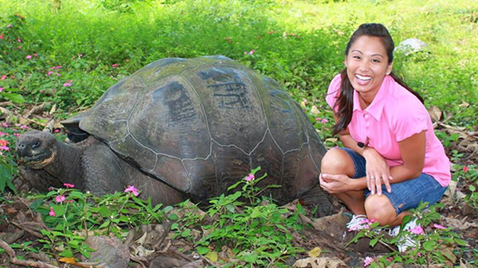 Kelly with a Giant Tortoise
