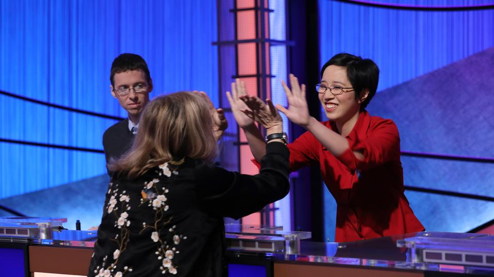 Producer Maggie Speak giving a high five to a contestant