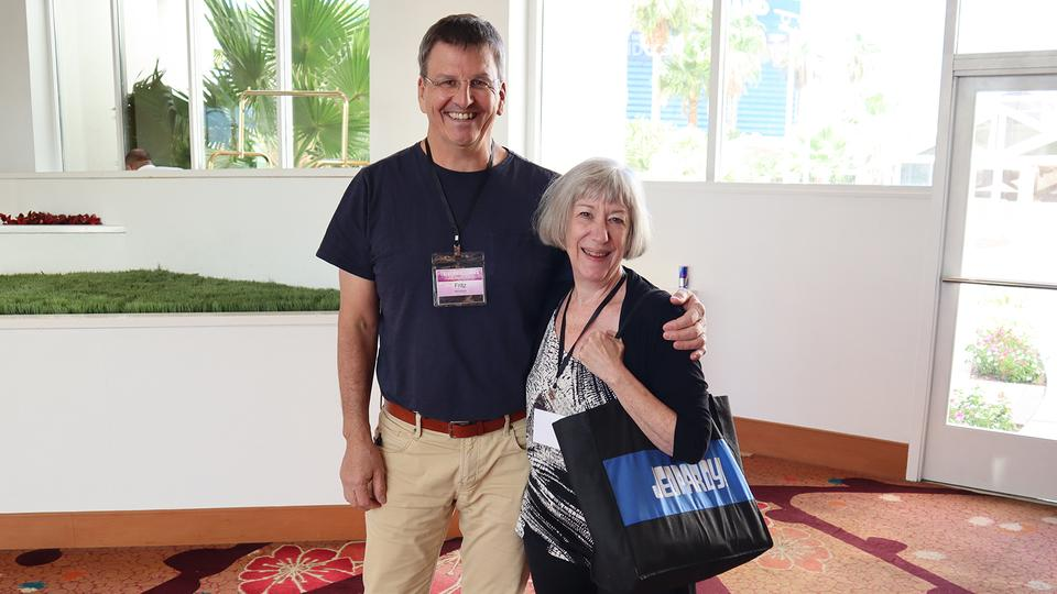 "Winner of the 1995 Tournament of Champions and author of ""Secrets of the Buzzer,"" Ryan ""Fritz"" Holznagel led a seminar at the conference. With him is five-time champ from 1991 India Cooper."