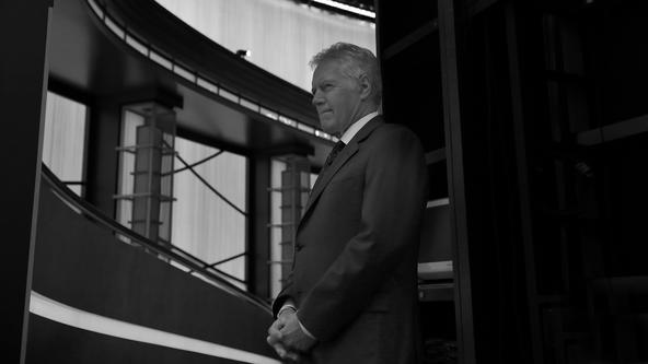 Alex Trebek Backstage in Black and White